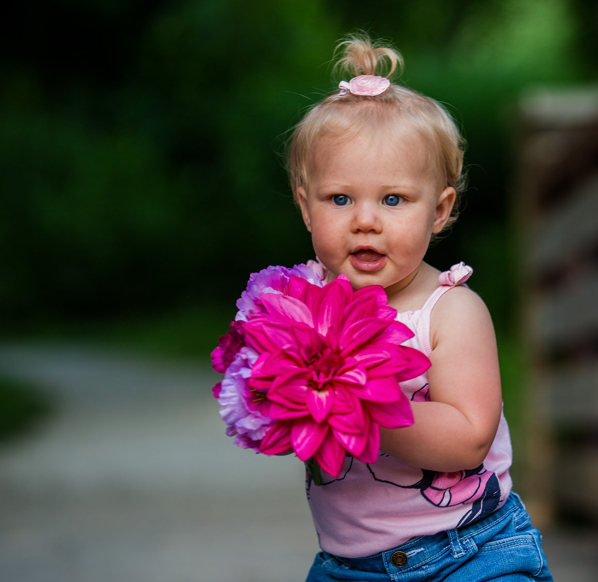 Child holds pink and purple flowers for her 1 year birthday portraits at Frontier Park in Erie, PA