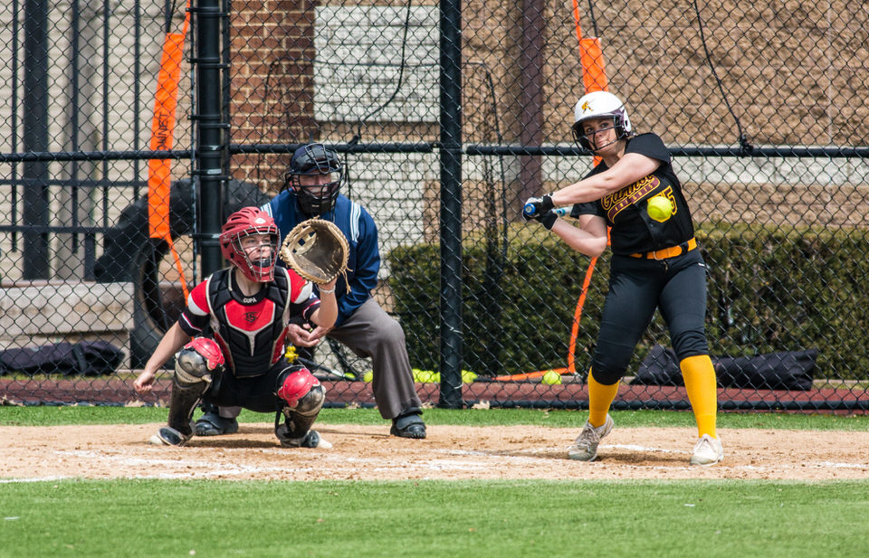 Gannon University's women's softball batter about to swing the bat