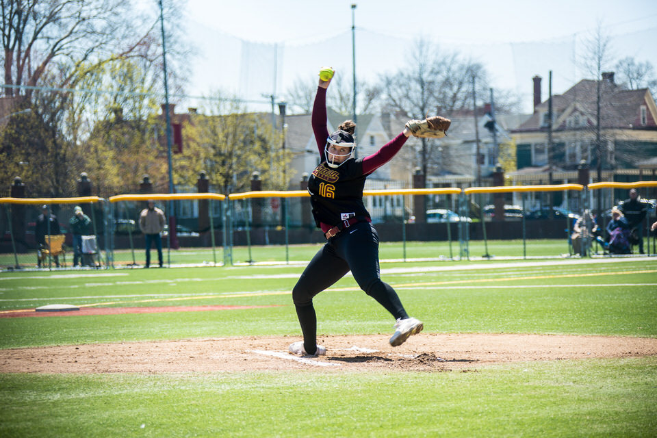 Gannon University's softball pitcher winding up