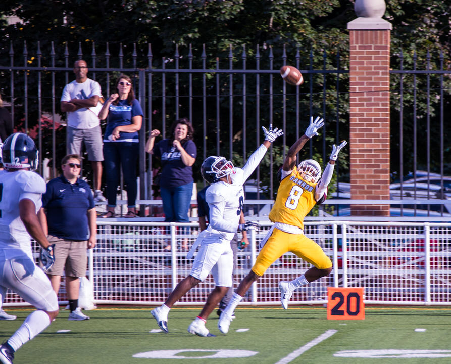 Gannon University's wide receiver attempts a catch
