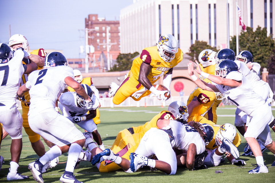 Gannon University's running back scores a touchdown